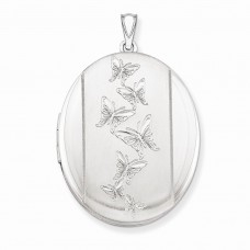 Sterling Silver Butterflies 34mm Oval Locket
