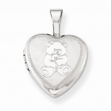 Sterling Silver Teddy Bear 12mm Heart Locket