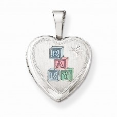 Sterling Silver Enamel Baby Blocks 12mm Heart Locket