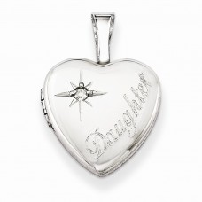 Sterling Silver & Diamond Daughter 12mm Heart Locket