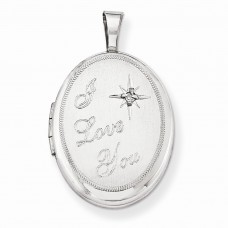 Sterling Silver & Diamond I Love You 19mm Oval Locket