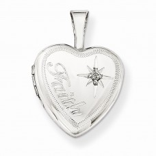 Sterling Silver & Diamond Faith 12mm Heart Locket