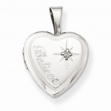 Sterling Silver & Diamond Believe 12mm Heart Locket