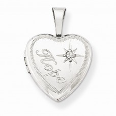 Sterling Silver & Diamond Hope 12mm Heart Locket