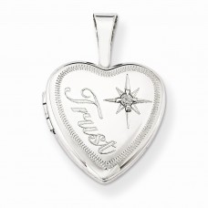 Sterling Silver & Diamond Trust 12mm Heart Locket