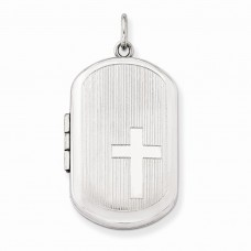 Sterling Silver w/ Side Cross Rectangular Locket