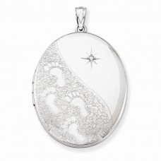 Sterling Silver & Diamond W/ Footprints 34mm Oval Locket