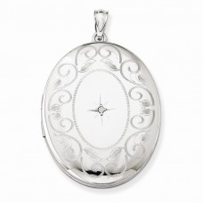 Sterling Silver & Diamond W/ Swirl Border 34mm Oval Locket