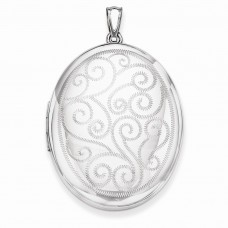 Sterling Silver Swirls 34mm Oval Locket