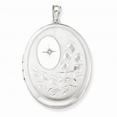 Sterling Silver & Diamond with Flower 34mm Oval Locket
