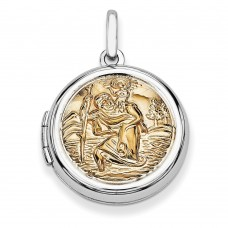 Sterling Silver w/Gold-plate 20mm Round St. Christopher's Locket