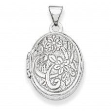 Sterling Silver 19mm Oval Flower with Scroll Locket