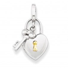 Sterling Silver 10mm Heart Lock & Key Locket