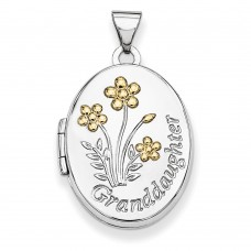 Sterling Silver w/Gold-plate 21mm Oval Granddaughter Locket