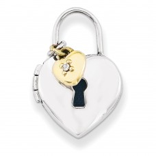Sterling Silver w/Gold-plate 12mm Padlock Heart with Diamond Locket