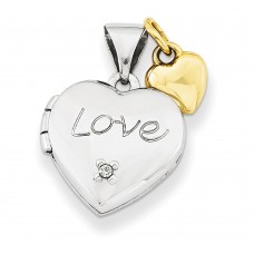 Sterling Silver w/Gold-plate 12mm Heart with Diamond Locket