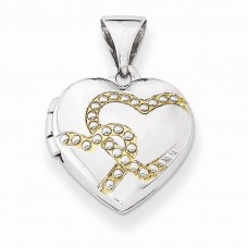 Sterling Silver w/Gold-plate 12mm Heart Locket