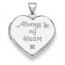 Sterling Silver 21mm Heart with Diamond Locket