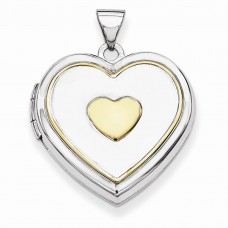 Sterling Silver w/Gold-plate 21mm Heart Locket
