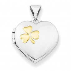Sterling Silver w/Gold-plate 15mm Heart Locket