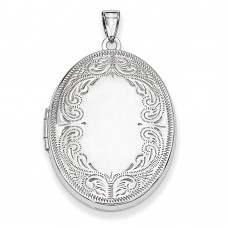 Sterling Silver 31mm Oval Scroll Locket