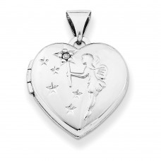 Sterling Silver 15mm Heart with Diamond Fairy Wishes Locket