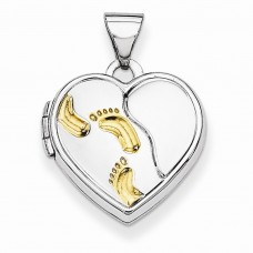 Sterling Silver w/Gold-plate 15mm Heart Foot Prints Locket