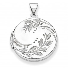 Sterling Silver 20mm Round Leaf Floral Locket
