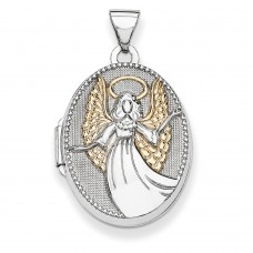 Sterling Silver w/Gold-plate 21mm Oval Guardian Angel Locket