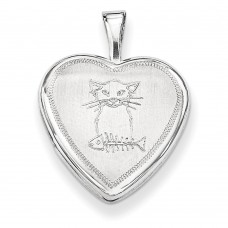 Sterling Silver Cat with Fish Heart Locket
