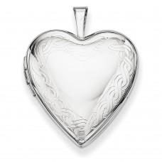 Sterling Silver Twisted Rope Edge Heart Locket