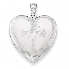 Sterling Silver Dove with Cross Heart Locket