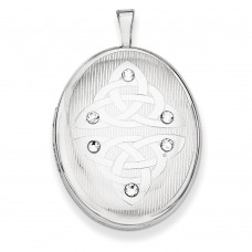 Sterling Silver Swarovski Elements Trinity Oval Locket