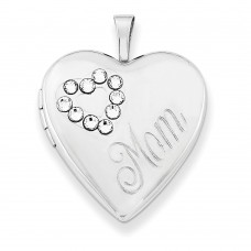 Sterling Silver Swarovski Elements Mom Heart Locket