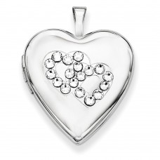 Sterling Silver Swarovski Elements Double Hearts Heart Locket