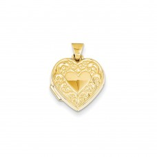 14k Scroll Heart Locket