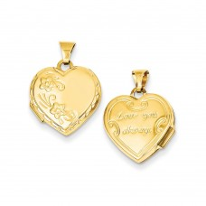14k Reversible Heart Locket