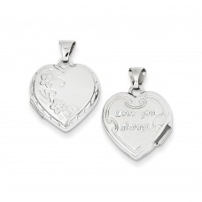 14k White Gold Polished Heart-Shaped Reversible Floral Locket