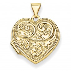"14k Scrolled ""Love you always"" Heart Locket"