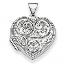 "14k White Gold Scrolled ""Love you always"" Heart Locket"