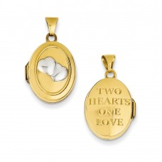 14k Rhodium 2 Hearts 17mm Oval Locket