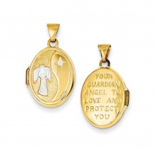 14k Rhodium 17mm Guardian Angel Oval Locket