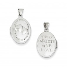 14k White Gold 17mm Double Hearts Oval Locket
