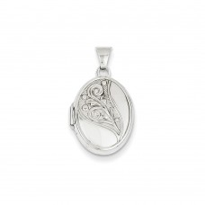 14k White Gold 17mm Embossed Oval Locket