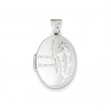 14k White Gold Family 21mm Oval Locket