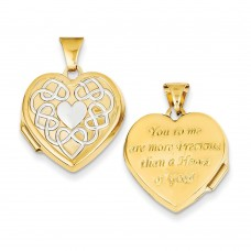 14k 18mm Heart Rhodium heart of Gold Locket