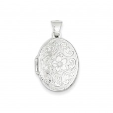 14k WG 21mm Oval Floral Scroll Border Locket
