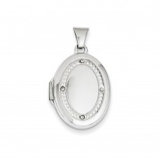 14K WG 21mm Oval Rhodium Diamond with Texture Locket