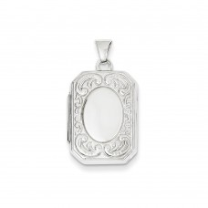 14K WG 20mm Book Scroll Border Locket