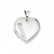 14k WG 21mm Heart Plain Domed Family Locket